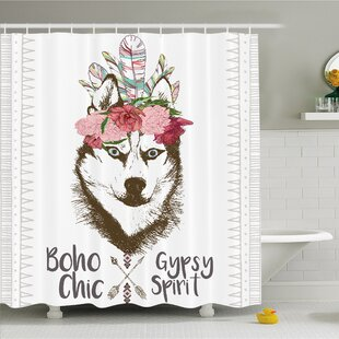 Aztec Floral Head Portrait of Siberian Husky Dog Tribal Arrow Kitsch Image Shower Curtain Set