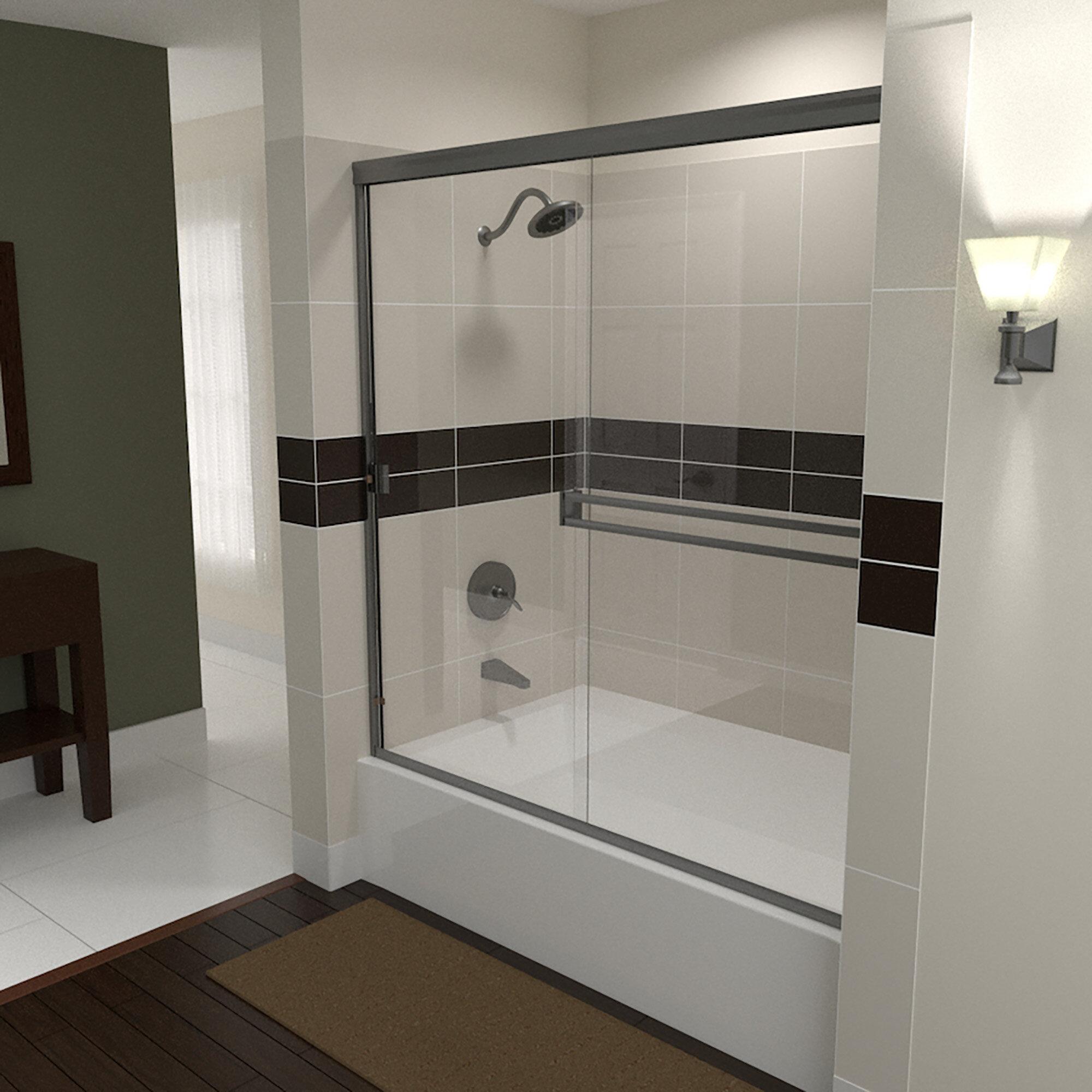 56 X 55 Bypass Semi Frameless Tub Door