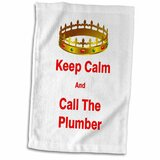 3D Rose Image of Keep Calm and Call The Plumber Hand Towel 15 x 22