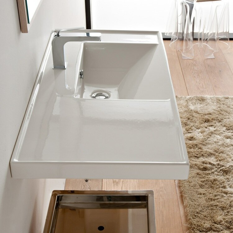 Scarabeo By Nameeks Ml Glossy White Ceramic Rectangular Drop In Bathroom Sink With Overflow Reviews Wayfair