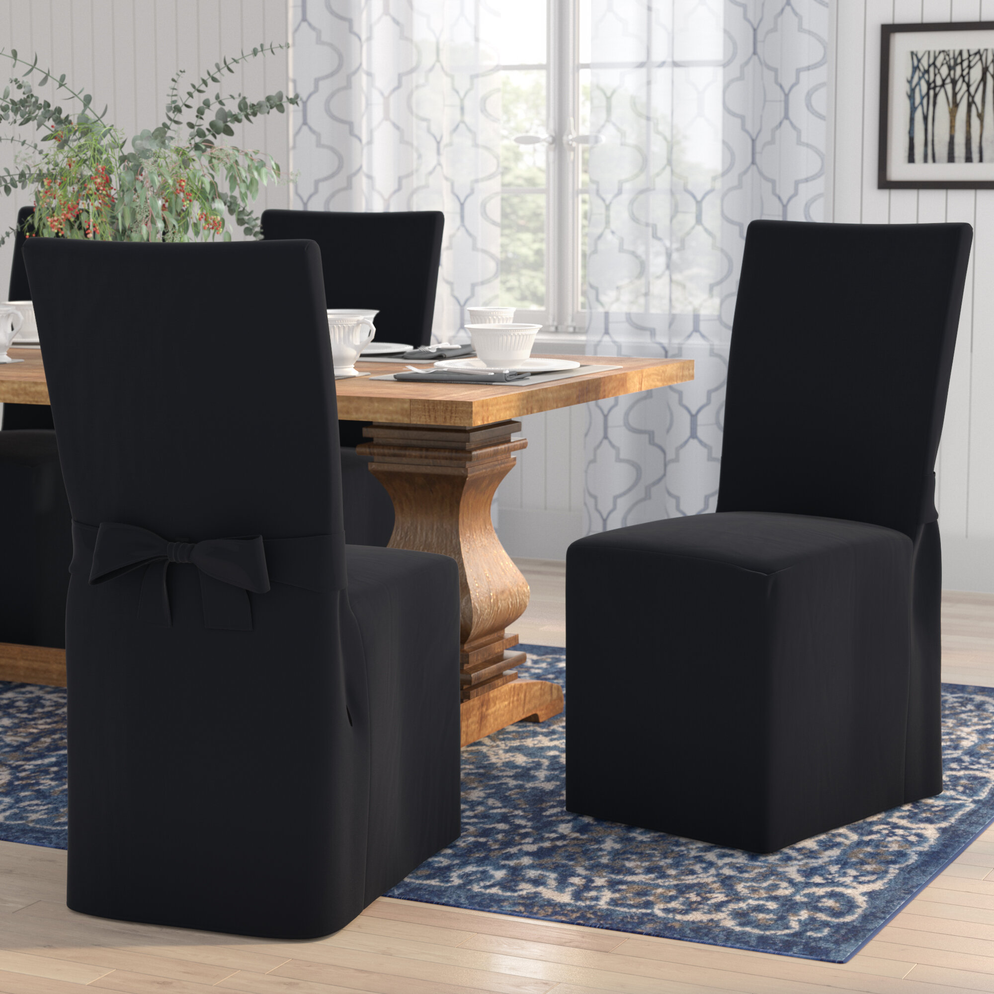Charlton Home Box Cushion Dining Chair Slipcover Reviews Wayfair