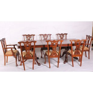 9 Piece Drop Leaf Solid Wood Dining Set