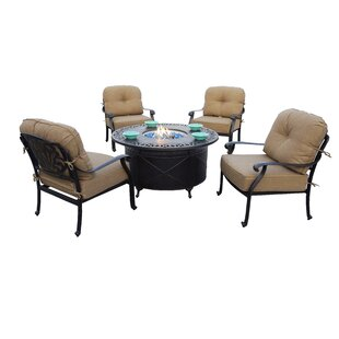 Bullington 5-Piece Fire Pit Chat Multiple Chairs Seating Group Set with Cushions and Pillows