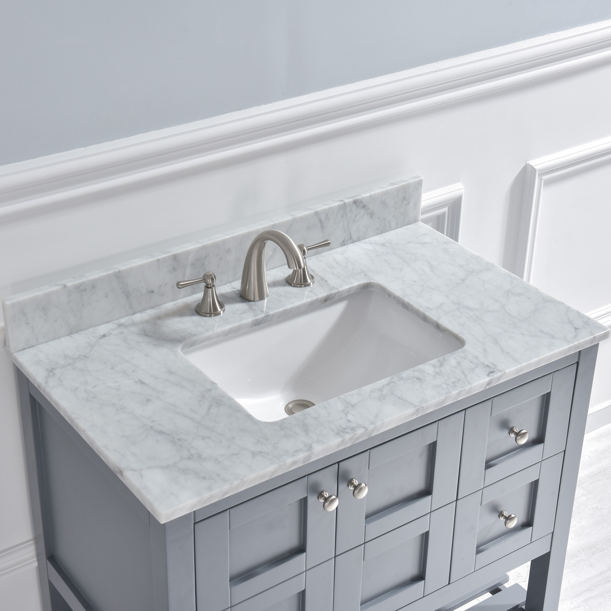 "4"" Single Bathroom Vanity Top in Carra White with Sink"