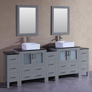 Lucia 96 Double Bathroom Vanity Set with Mirror by Bosconi
