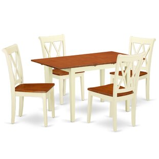 Kromer 5 Piece Extendable Solid Wood Breakfast Nook Dining Set