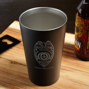 Police Badge Engraved 16 oz. Stainless Steel Pint Glass