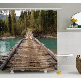 Rustic Decor River Pine Forest Shower Curtain Set by Ambesonne