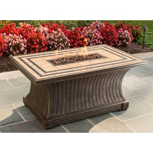 TK Classics Tuscan Porcelain Top Stainless Steel Propane Gas Fire Pit Table