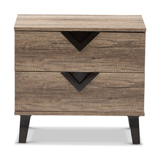 Vidal Modern 2 Drawer Nightstand