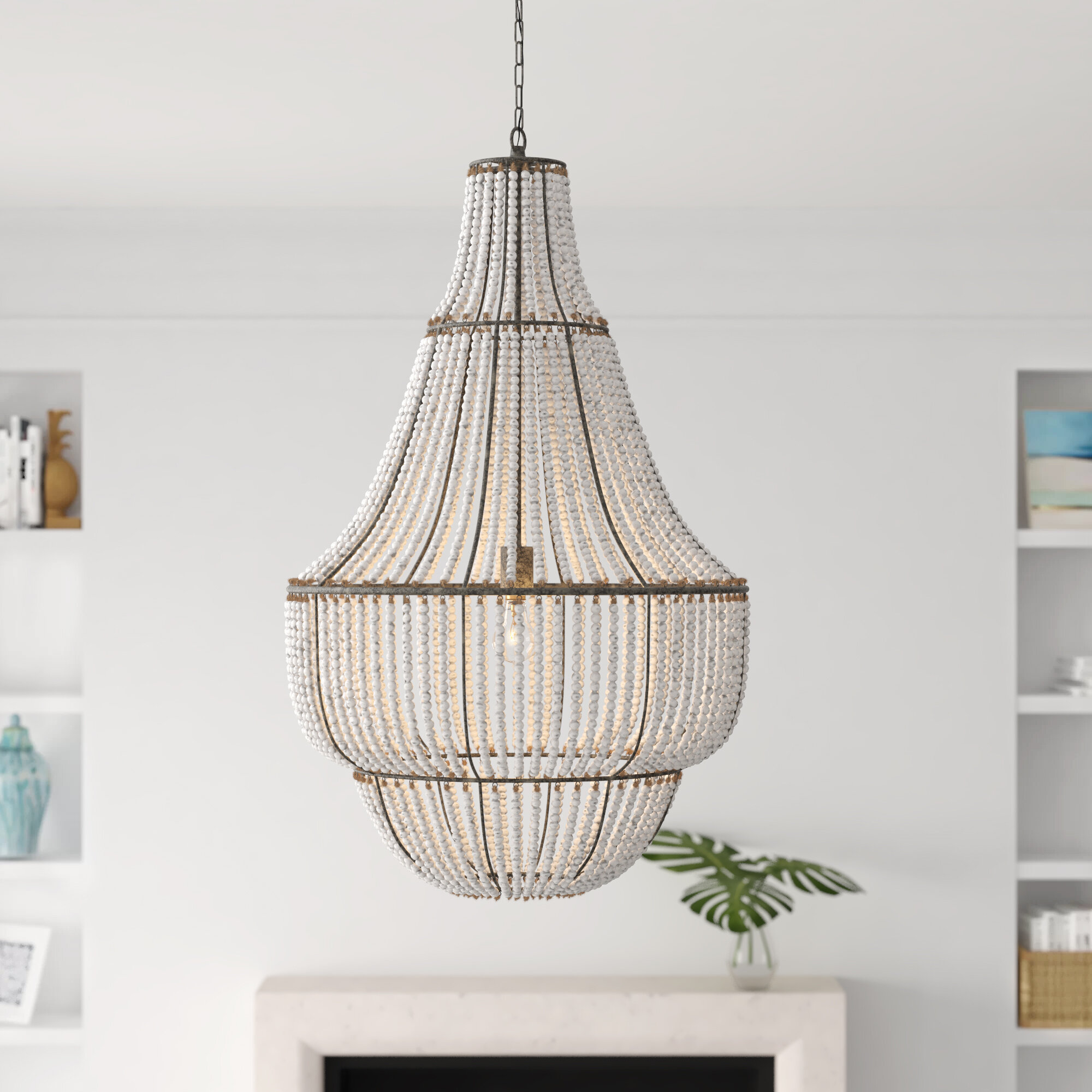 Joss Main Carnahan 1 Light Single Geometric Pendant With Beaded Accents Reviews Wayfair