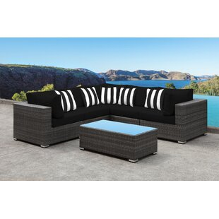 Orren Ellis Yeager 5 Piece Rattan Sectional Set with Cushions