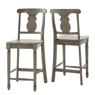Petrucci Reclaimed Wood Napoleon Back 24 Bar Stool (Set of 2) by Alcott Hill