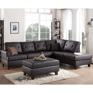 Red Barrel Studio Allene Leather Reversible Sectional with Ottoman
