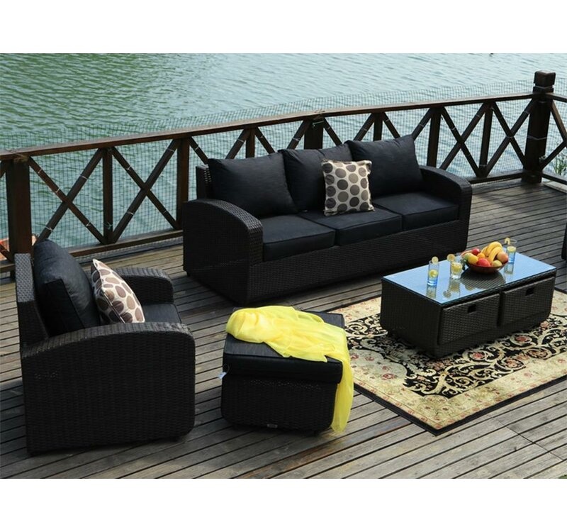 Castro 5 Piece Rattan Sofa Set With Cushions