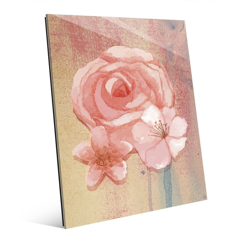 Glass Pink Water Rose Painting Print on Plaque