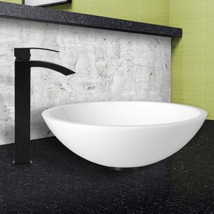 Price Check Phoenix Glass Circular Vessel Bathroom Sink with Faucet By VIGO
