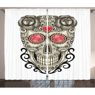 Bolger Day of The Dead Graphic Print and Text Semi-Sheer Rod Pocket Curtain Panels (Set of 2) by Latitude Run