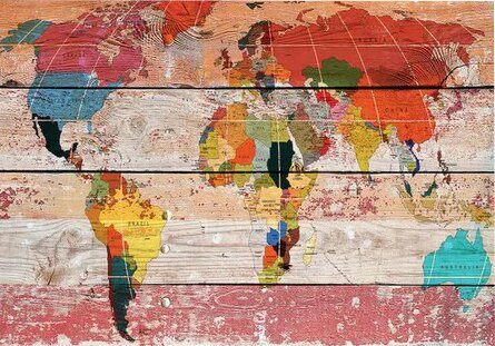 World menagerie world map painting print on wrapped canvas world map painting print on wrapped canvas gumiabroncs Images