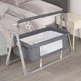 Beige Baby Cradle Electric Baby Cradle Three Timing Adjustment Newborn Swing Rocking Crib with Music