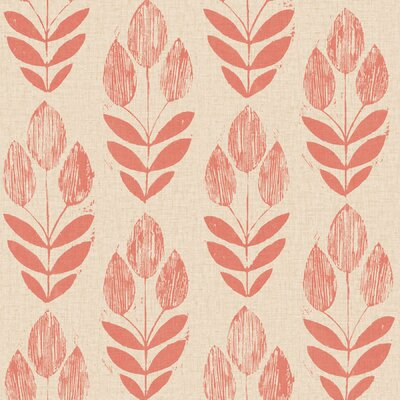 Brayden Studio Ladwig Scandinavian 33' x 20.5 Block Tulip Floral Wallpaper Roll Color: Red
