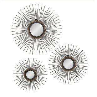 Modern contemporary mirror wall decor allmodern 3 piece metal mirror wall dcor set ppazfo