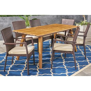 Gilda 7 Piece Teak Dining Set with Cushions