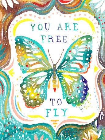 You Are Free to Fly Canvas Art by Katie Daisy. Happy LOVE Day, Lovelies! Poetry, handlettered art, and colorful Valentine's Day finds await on Hello Lovely Studio!
