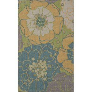 Wright Teal Blue/Yellow Indoor/Outdoor Area Rug