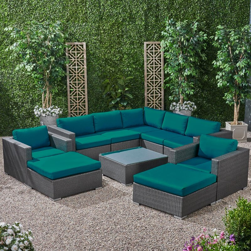 Roxann Outdoor 7 Seater Wicker Sectional Sofa Set with Sunbrella Cushions