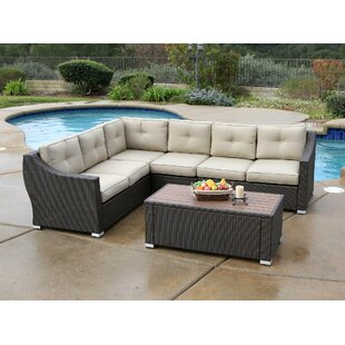 Darby Home Co Ehlers 5 Piece Rattan Sectional Set with Cushions