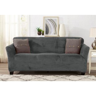 Velvet Plush Form Fit Box Cushion Sofa Slipcover by Symple Stuff