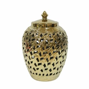 Beautifully Designed Pierced Ceramic Covered Storage Jar