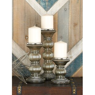 3 Piece Glass Candlestick Set