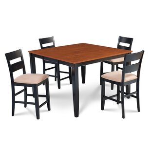 Charlestown 5 Piece Counter Height Solid Wood Dining Set by Alcott Hill New