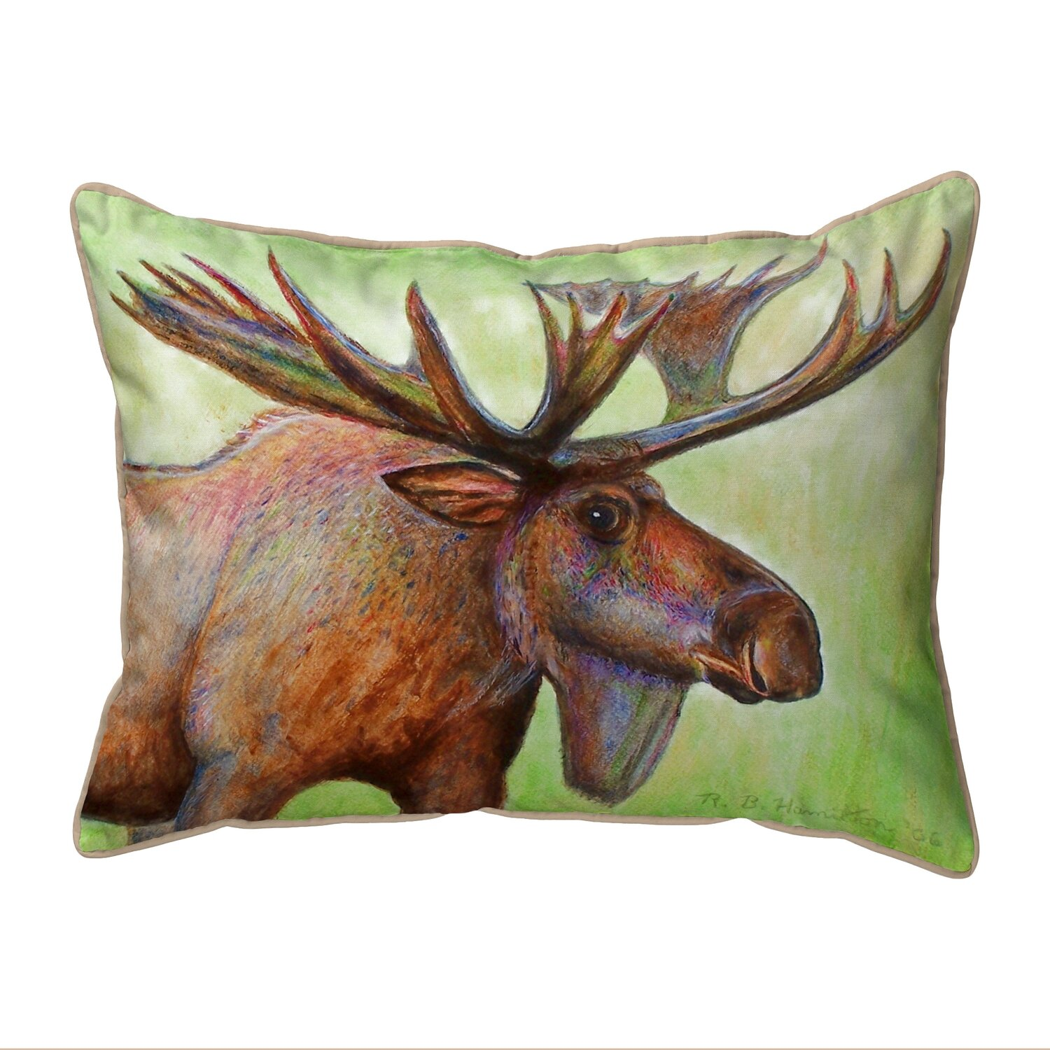Betsy Drake Interiors Lodge Moose Indoor Outdoor Lumbar Pillow Wayfair