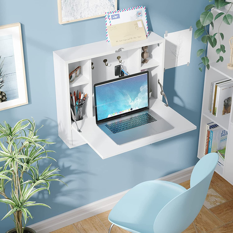 Latitude Run® Convertible Wall Mounted Folding Desk For Small