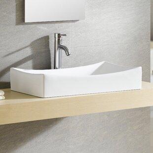 Coupon Modern Ceramic Rectangular Vessel Bathroom Sink ByFine Fixtures