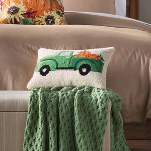 Fall Truck With Pumpkin Hook Wool Lumbar Pillow