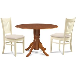 Viggo 3 Piece Drop Leaf Solid Wood Dining Set Millwood Pines