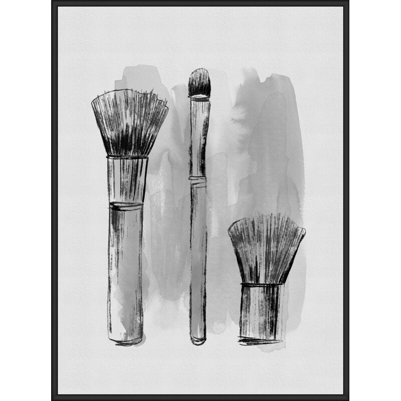Mercer41 Makeup Brushes Framed Graphic Art Print On Canvas Wayfair