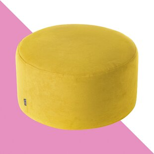 Daksh Drum Brushed Suede Pouffe By Hashtag Home