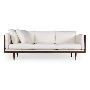 Carey Midcentury Genuine Leather Standard Sofa