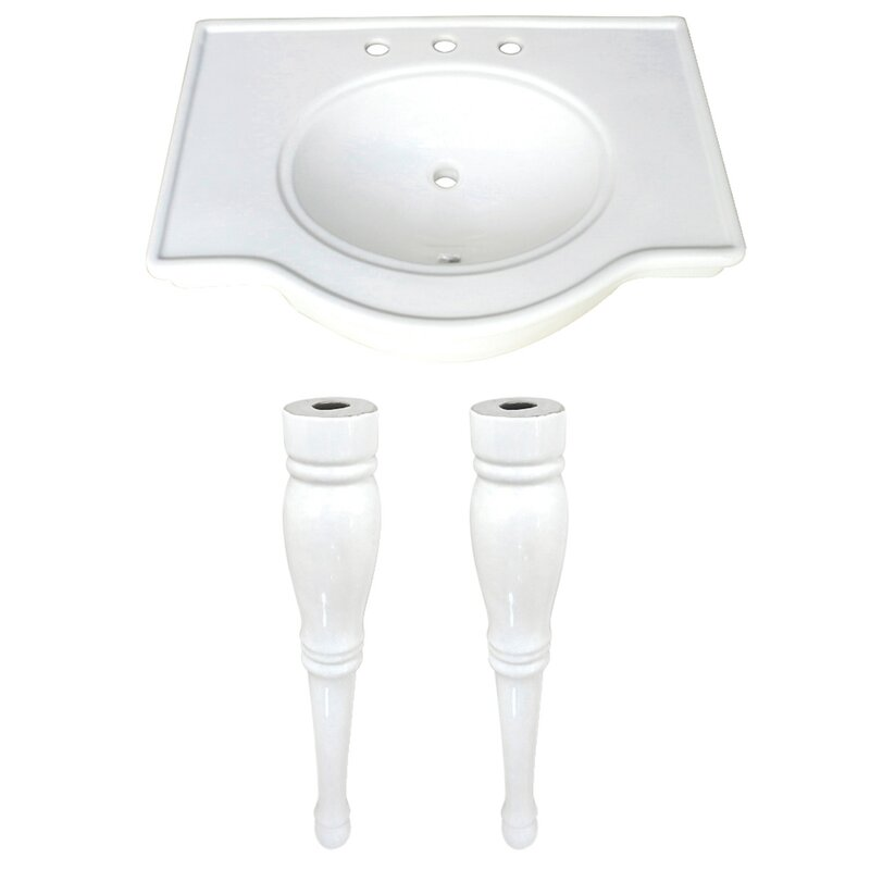 Kingston Brass Templeton White Ceramic Rectangular Console Bathroom Sink With Overflow Wayfair