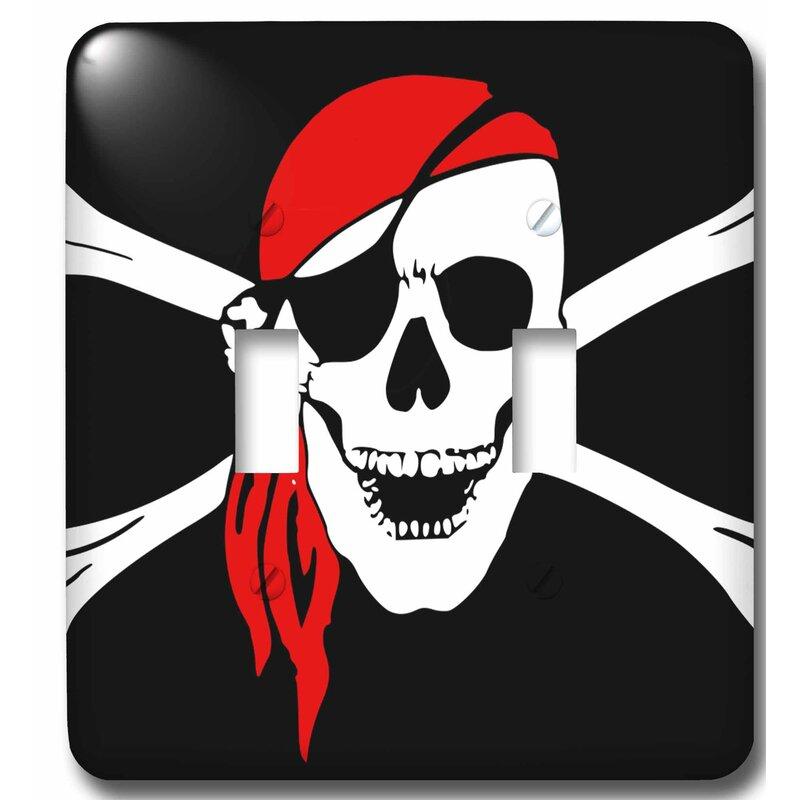 3drose Pirate Skull And Cross Bones 2 Gang Toggle Light Switch Wall Plate Wayfair