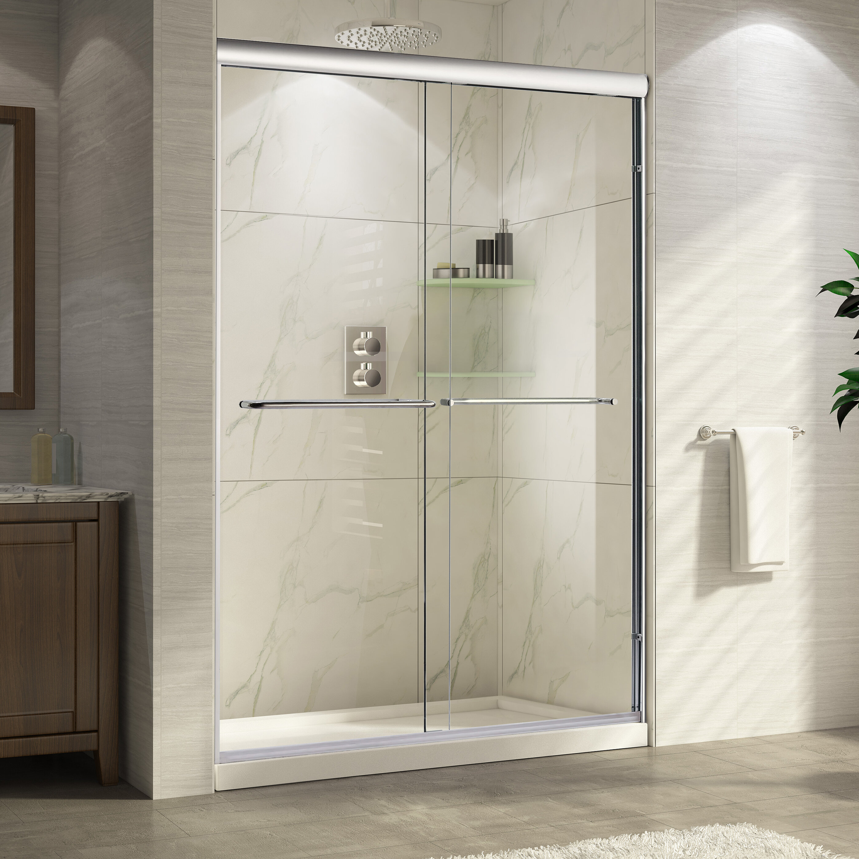 Wet Republic Catalina 60\'\' x 76\'\' Double Sliding Shower Door | Wayfair