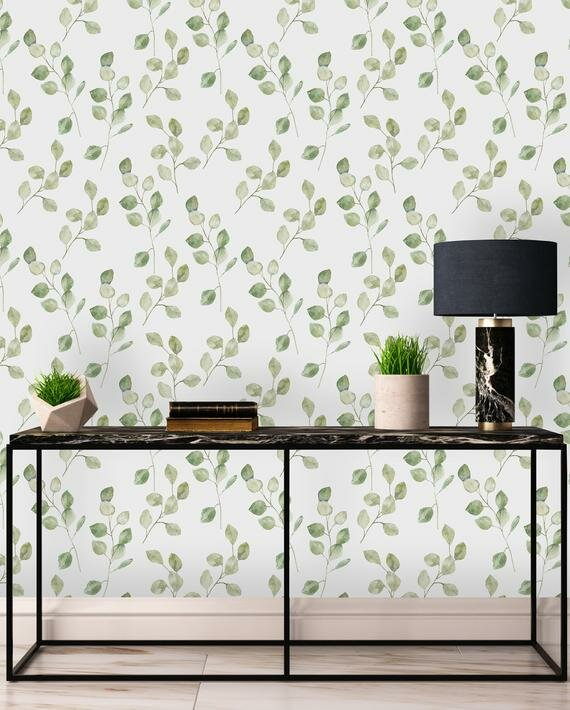 Gracie Oaks Lilwen Removable Green Leaves On White Background 4 17 L X 25 W Peel And Stick Wallpaper Roll Wayfair