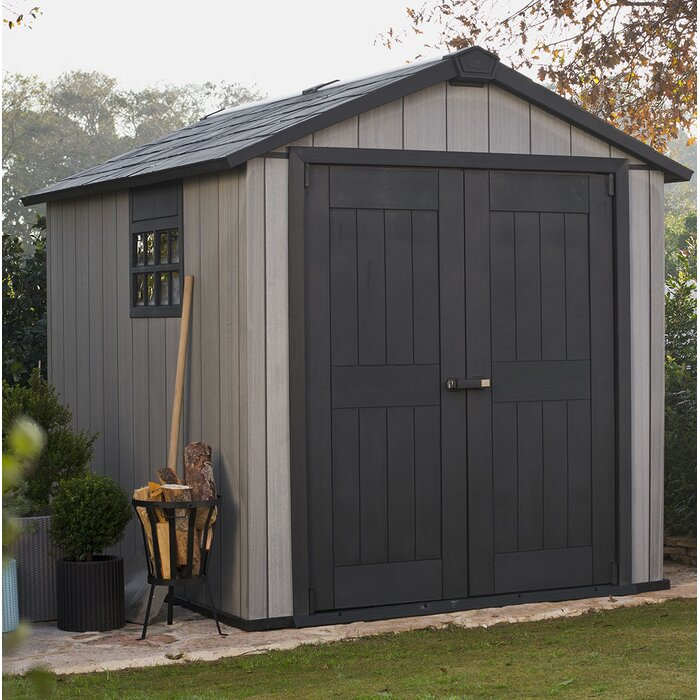 Keter Oakland 7.5-Ft. x 9.5-Ft. Storage Shed (Gray)