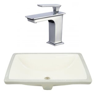 Price Check Ceramic Rectangular Undermount Bathroom Sink with Faucet and Overflow ByAmerican Imaginations