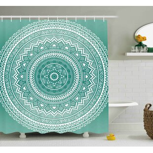 Adeline Teal Ombre Mandala Pattern Boho Style Floral Dots And Stripes With Petals Indian Print Shower Curtain